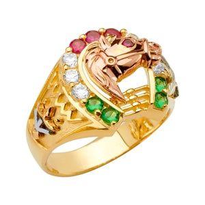 14K Tri Color   Gold CZ Men's Ring